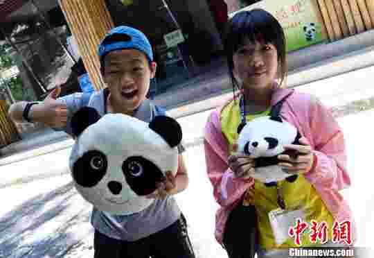 二名马祖小学生在海峡(福州)熊猫世界内合影留念。 记者刘可耕 摄