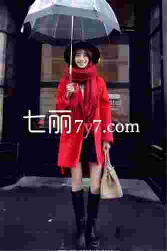 中国美女时尚街拍瞬间 初春必备韩版毛呢大衣