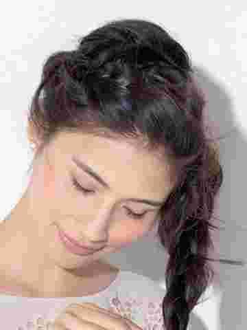 超气质韩式蜈蚣辫盘发 淑女范中长发简单盘发发型图片