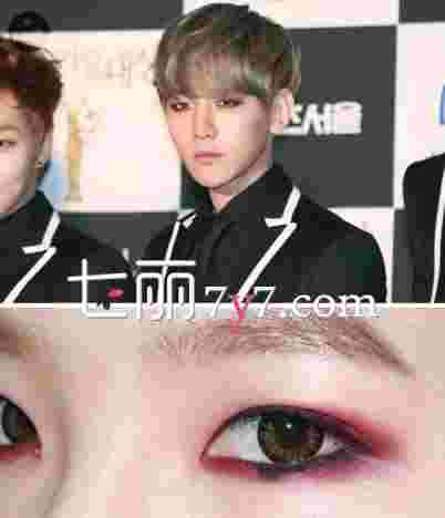 边伯贤红色眼线眼妆教程 跟他一起妩媚吧