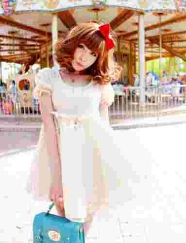 夏日白色蕾丝公主连衣美裙 仙美小甜心的必备款式