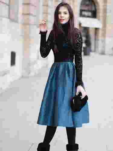 黑色蕾丝花边打底衫搭配 魅惑秋冬耍性感