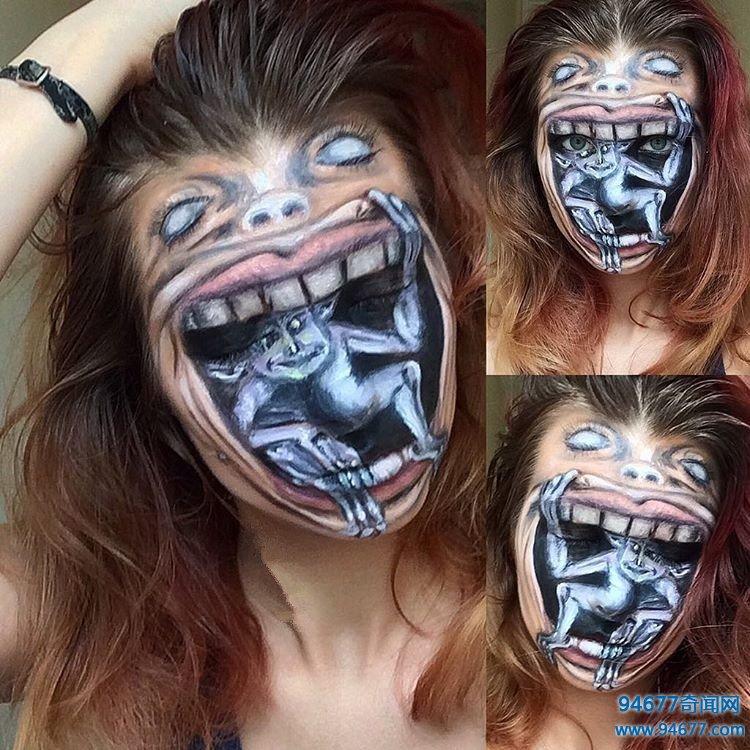 立陶宛19岁美女酷爱模仿恐怖角色