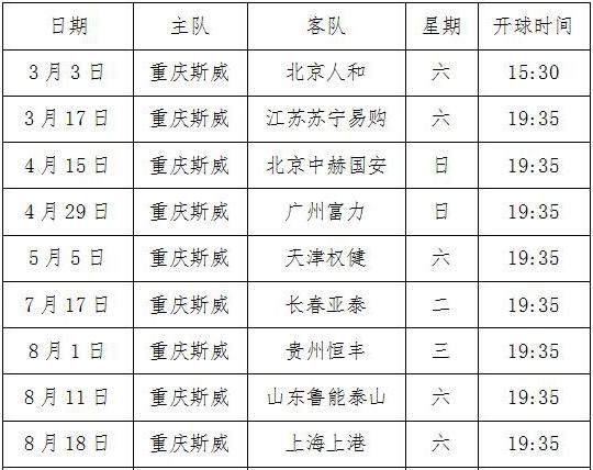 重庆斯威明日迎战北京人和 奥体中心有交通管制