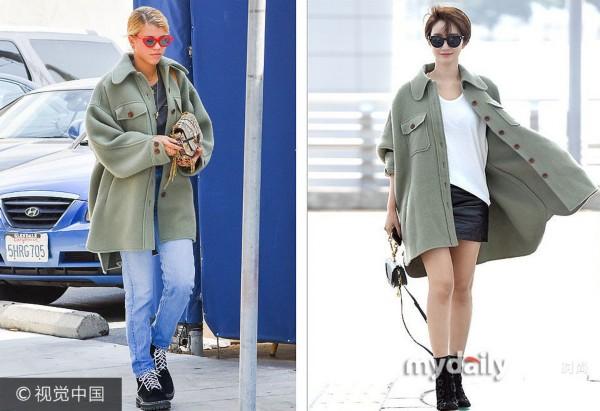 当地时间2017年10月11日讯,高俊熙 VS 索菲亚・里奇撞衫:Chloe军绿色毛呢大衣。***_***