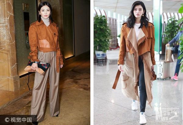 2017年10月11日讯,刘涛 VS 奚梦瑶撞衫:Loewe棕色拼皮短夹克。***_***