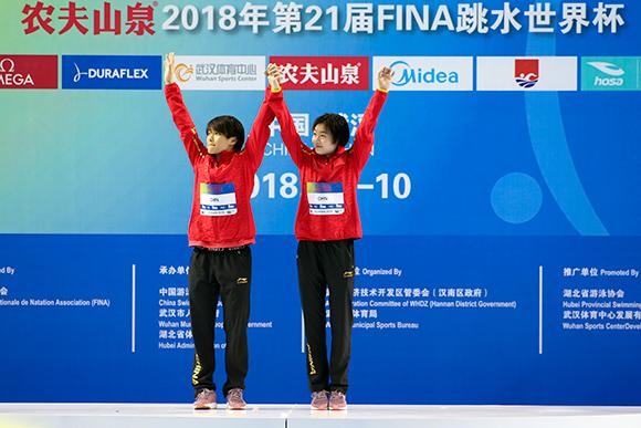 跳水世界杯施廷懋再夺金 搭档昌雅妮获双人3米板冠军