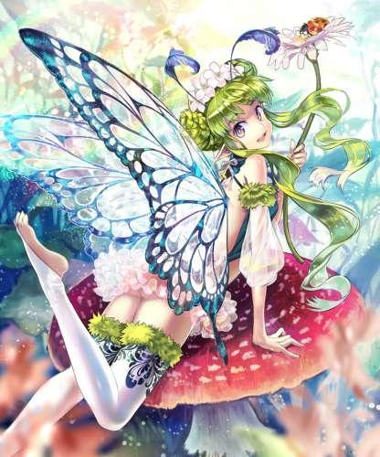 精灵翅膀的动漫少女大图壁纸