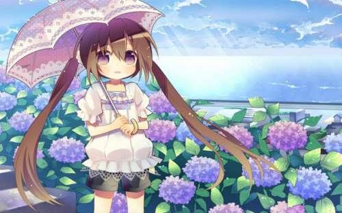雨中漫步的动漫美少女萌图
