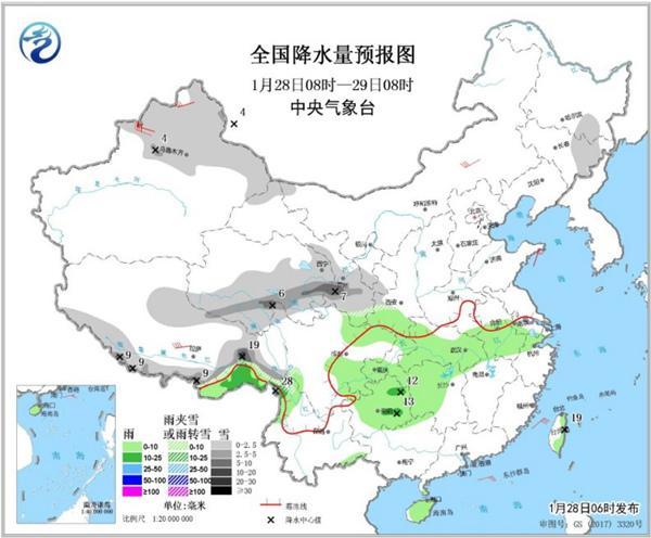 中东部雨雪发展或扰春运 周中大风降温来袭