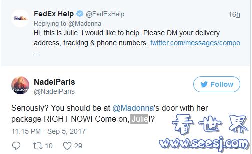 麦当娜发推抱怨FedEx快递不给力 召唤客服成网络新热点