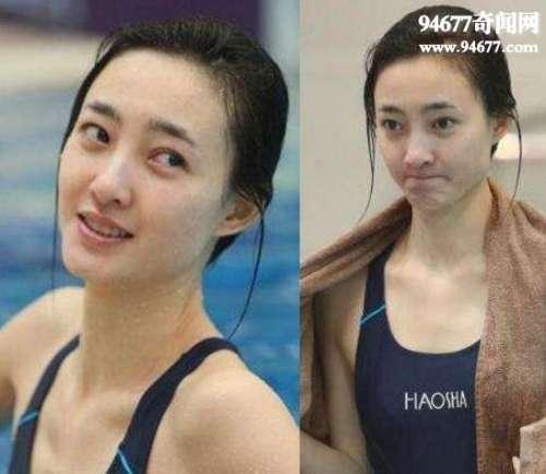 王丽坤跳水露卫生巾,泳衣太贴身凸显卫生巾