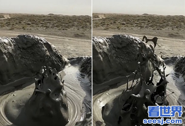震撼阿塞拜疆泥火山喷发气泡和泥浆